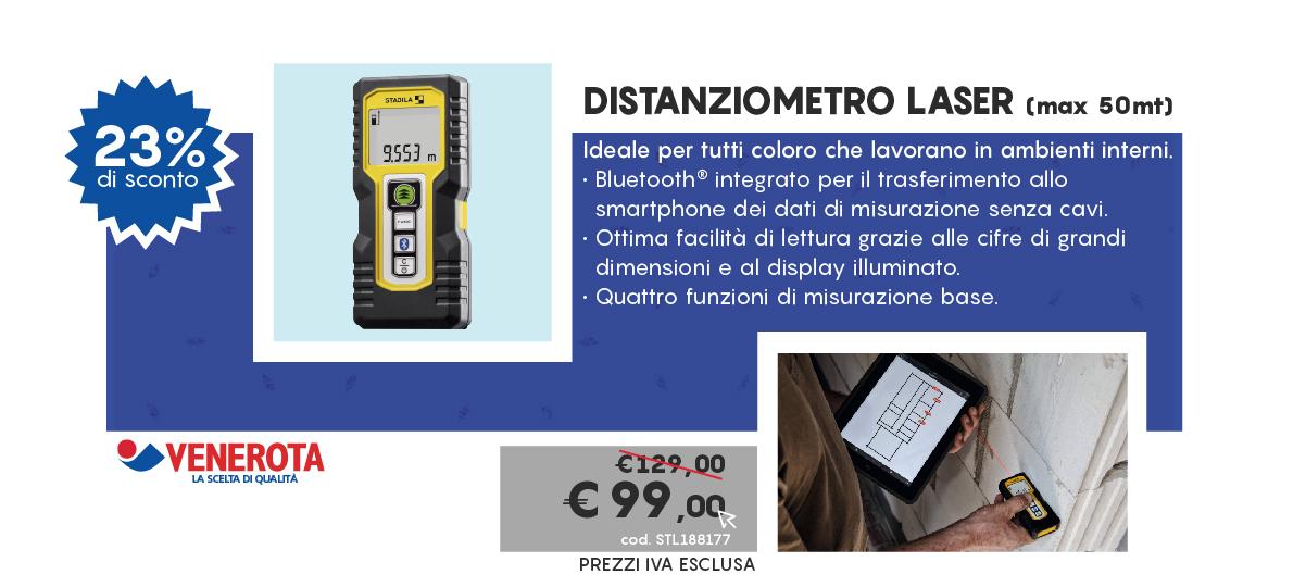 Distanziometro laser (max 50mt) ideale per tutti coloro che lavorano in ambienti interni. Bluetooth integrato per il trasferimento allo smartphone dei dati di misurazione senza cavi. Ottima facilità di lettura grazie alle cifre di grandi dimensioni ed al display illuminato. Quattro funzioni di misurazione base.